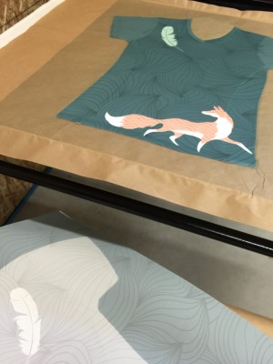 All Over Shirt with Feather & Fox custom design fresh out of the Heat Press