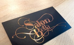 Salon Bella logo on copper foil business card