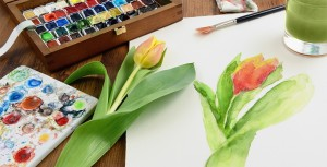 Tulip Painting in Watercolor